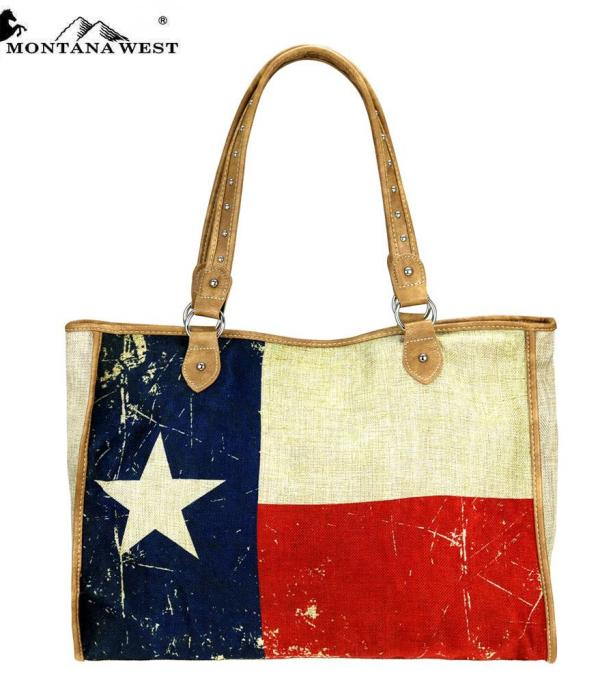 New Arrival :: Montana West Texas Pride Painted Canvas Tote Bag