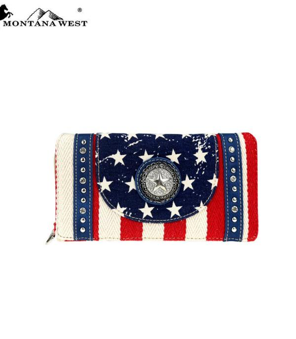 <font color=Red>RED,WHITE, AND BLUE</font> :: Montana West Patriotic Collection Wallet