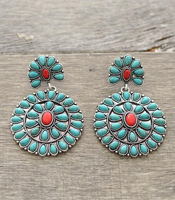 <font color=Turquoise>TURQUOISE JEWELRY</font> :: Turquoise Concho Earrings