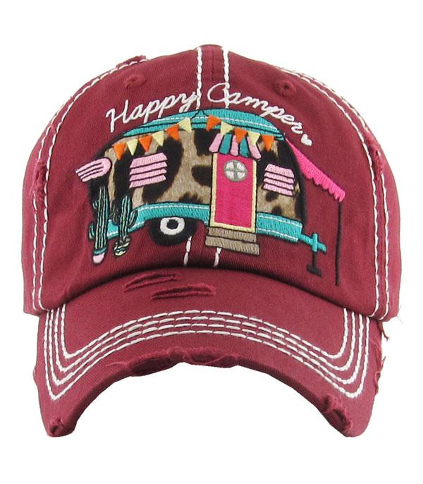 New Arrival :: Wholesale Happy Camper Leopard Accent Hat