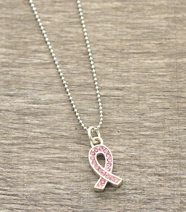 <font color=Fuchsia>PINK RIBBON</font> :: Mini Pink Ribbon Pendant Necklace