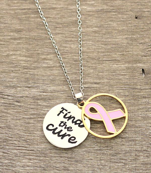 <font color=Fuchsia>PINK RIBBON</font> :: Pink Ribbon Charm Necklace