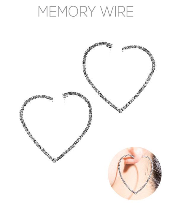 <font color=red>VALENTINE'S</font> :: Crystal Heart Hoop Earrings