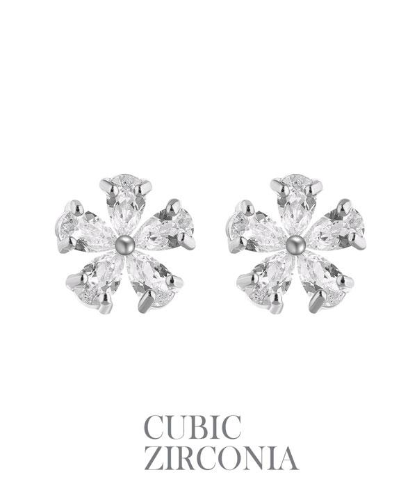 New Arrival :: Cubic Zirconia Flower Earrings