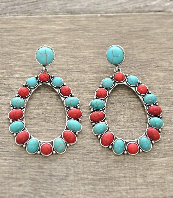 <font color=Turquoise>TURQUOISE JEWELRY</font> :: Western Oval Earrings