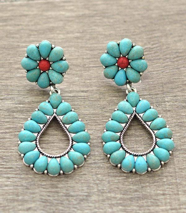 <font color=Turquoise>TURQUOISE JEWELRY</font> :: Western Teardrop Earrings