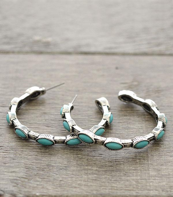 New Arrival :: Turquoise Stone Semi-Hoop Earrings