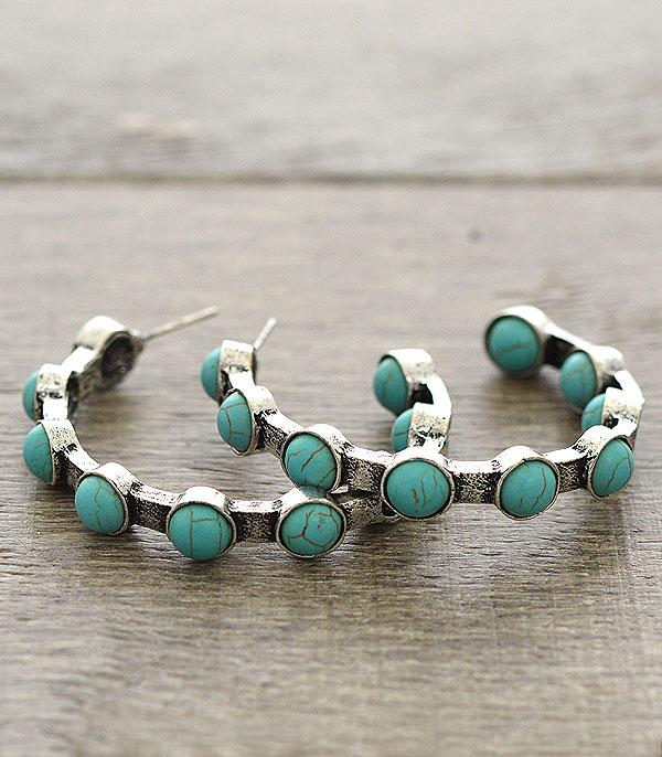 <font color=Turquoise>TURQUOISE JEWELRY</font> :: Western Semi-Hoop Earrings
