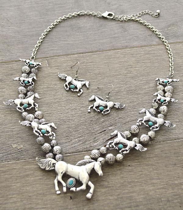 New Arrival :: Turquoise Accent Horse Necklace Set