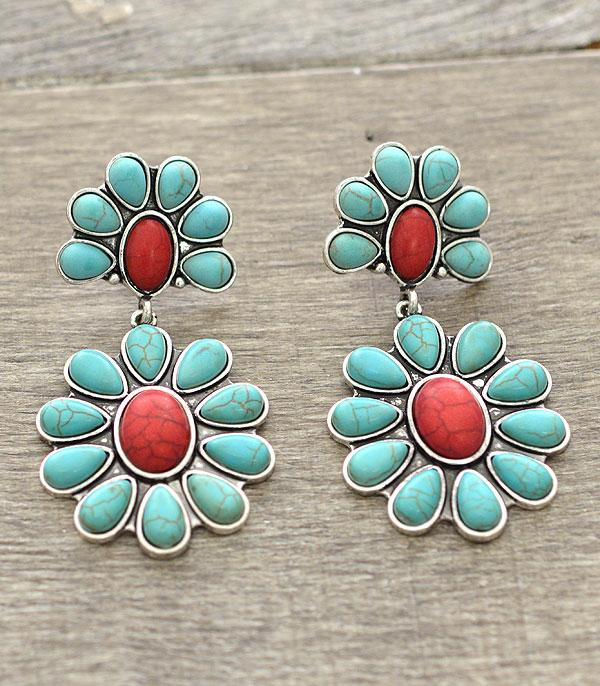 <font color=Turquoise>TURQUOISE JEWELRY</font> :: Western Flower Earrings