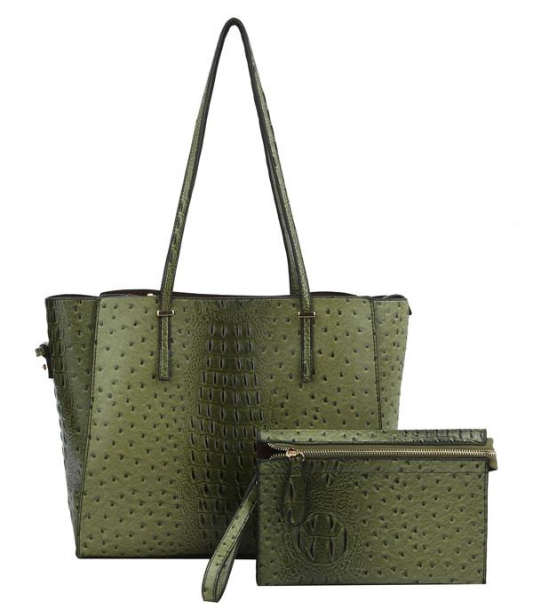 New Arrival :: Faux Ostrich/Croc Shoulder Bag Set