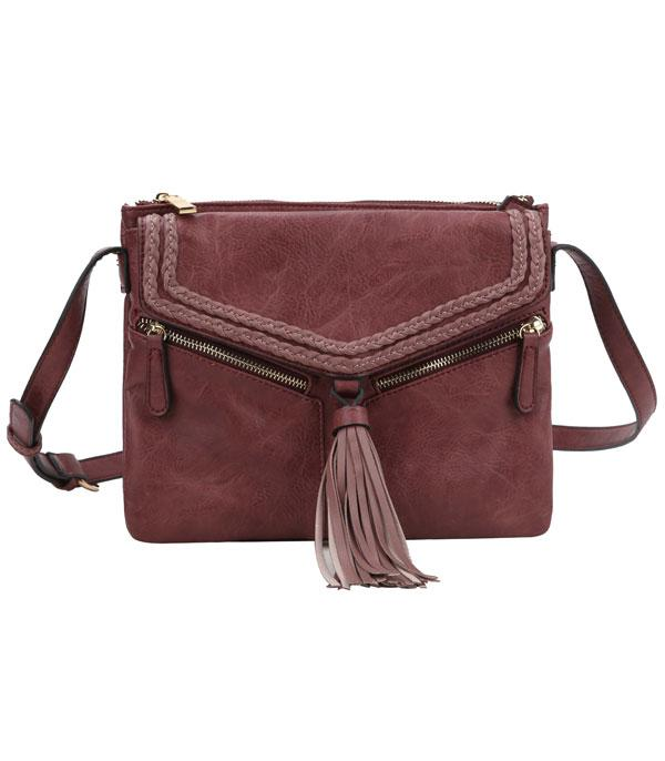 New Arrival :: Tassel Accent Braided Crossbody Bag