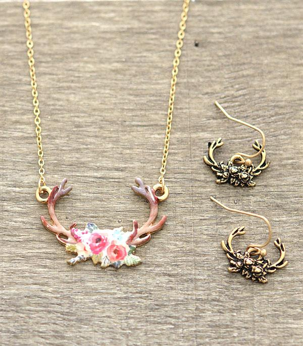 New Arrival :: Floral Antlers Necklace Set