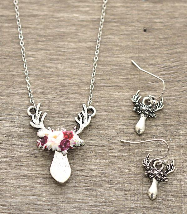 New Arrival :: Floral Trophy Deer Necklace Set