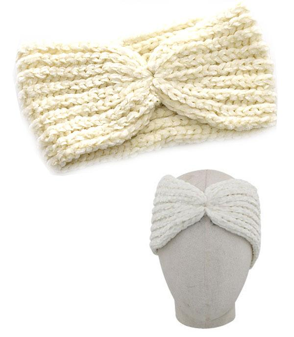 HATS :: SEASONAL :: Bow Accent Suede Feel Head Wrap