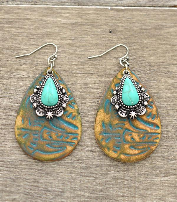<font color=Turquoise>TURQUOISE JEWELRY</font> :: Turquoise Accent Tooled Leather Earrings