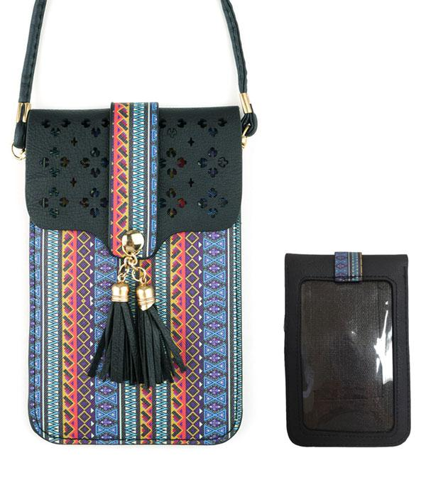 PHONE ACCESSORIES :: Aztec Pattern Cellphone Crossbody