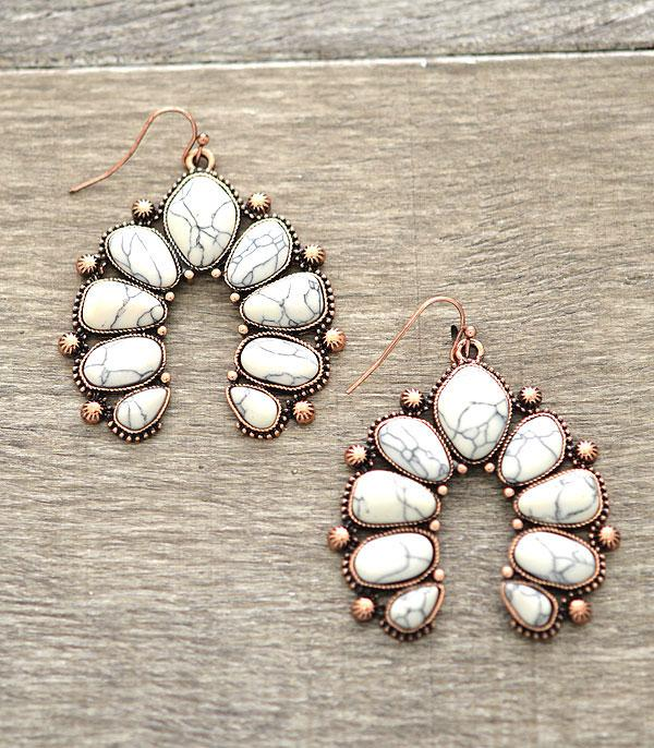 New Arrival :: Natural Stone Squash Blossom Earrings