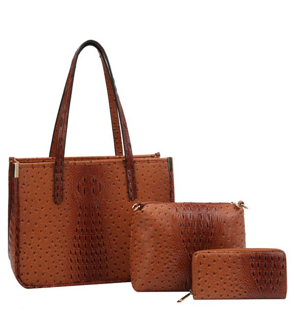 New Arrival :: 3 in 1 Croc Textured Tote Bag