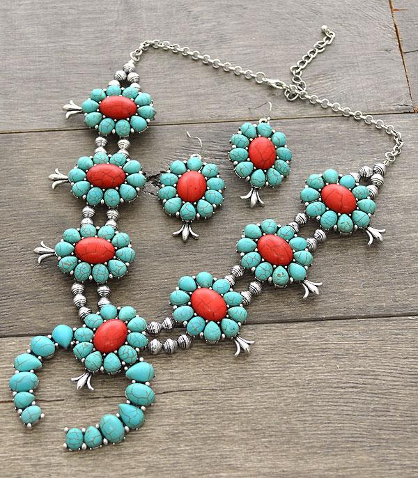 <font color=Turquoise>TURQUOISE JEWELRY</font> :: Squash Blossom Necklace Set