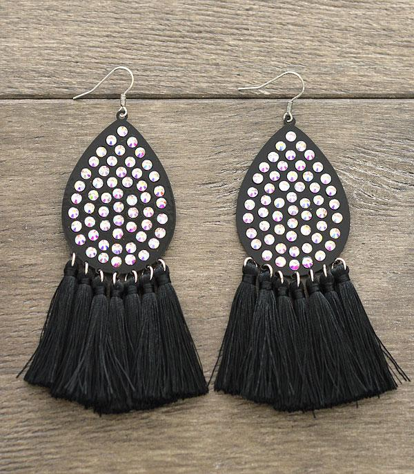 New Arrival :: Rhinestone Tassel Earrings