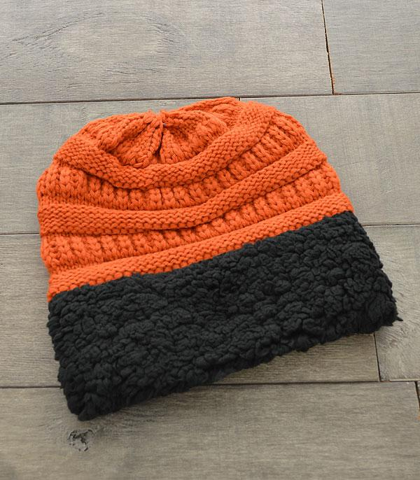 HATS :: SEASONAL :: Sherpa Trim Knit Beanie