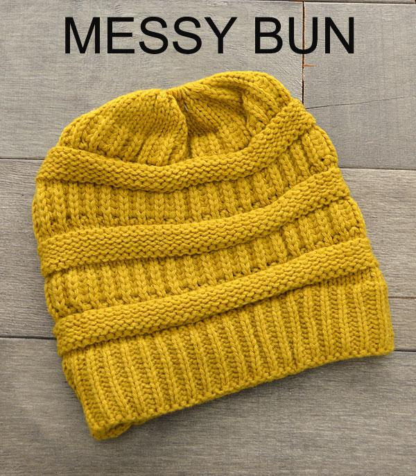 HATS :: SEASONAL :: Messy Bun Beanie