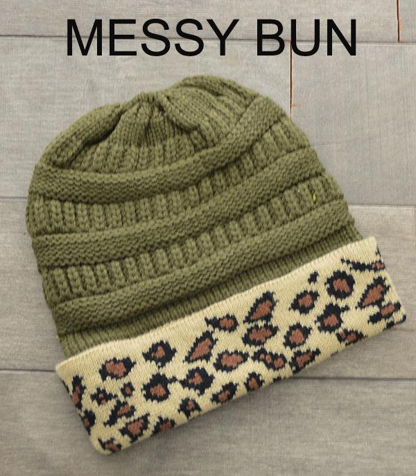 HATS :: SEASONAL :: Leopard Trim Messy Bun Beanie