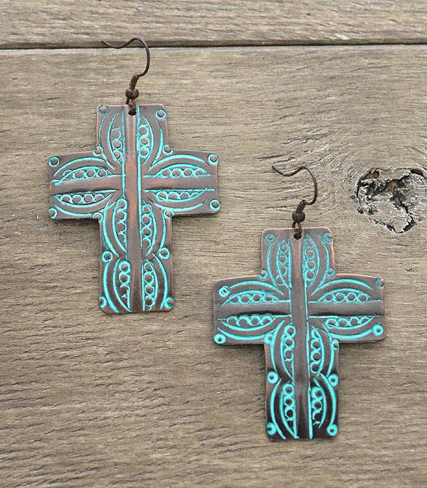 New Arrival :: Antiqued Metal Cross Earrings