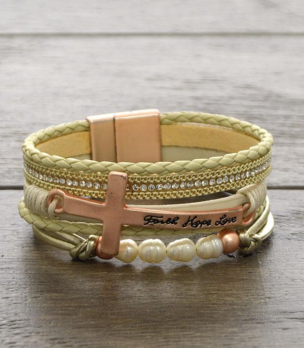 BRACELETS :: LINK :: Faith Hope Love Magnetic Bracelet