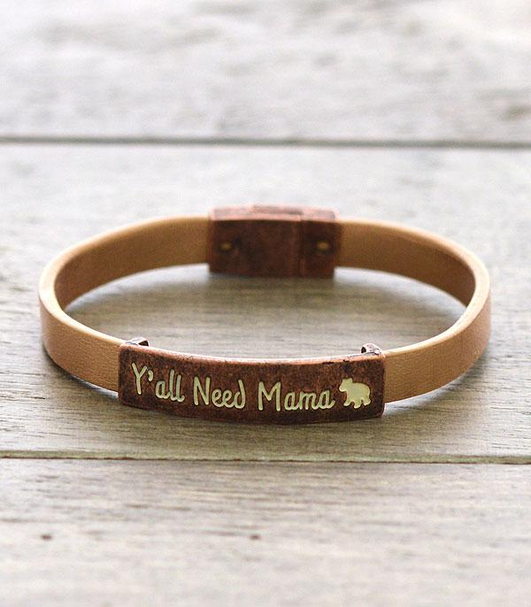 BRACELETS :: LINK :: Mama Bear Metallic Leather Bracelet