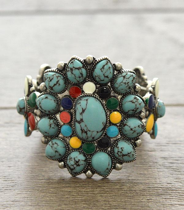 <font color=Turquoise>TURQUOISE JEWELRY</font> :: Natural Stone Western Bracelet