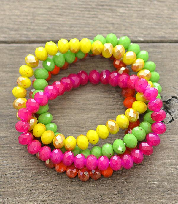 New Arrival :: Wholesale Glass Bead Stacked Bracelets