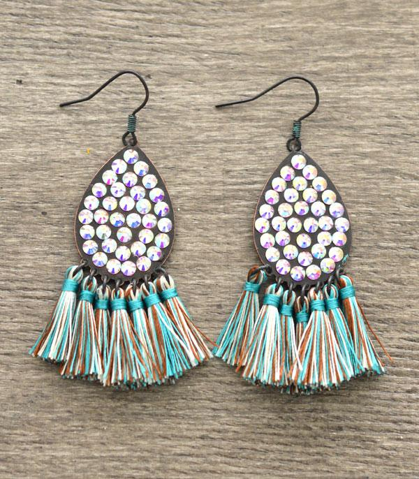 New Arrival :: Teardrop Rhinestone Tassel Earrings