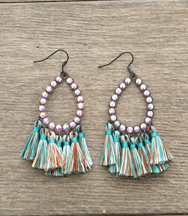New Arrival :: Rhinestone Tassel Dangle Earrings