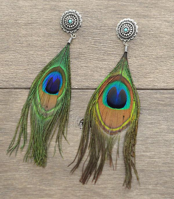 New Arrival :: Peacock Feather Fashion Earrings