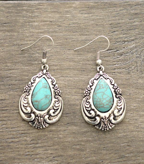 New Arrival :: Spoon Handle Turquoise Earrings