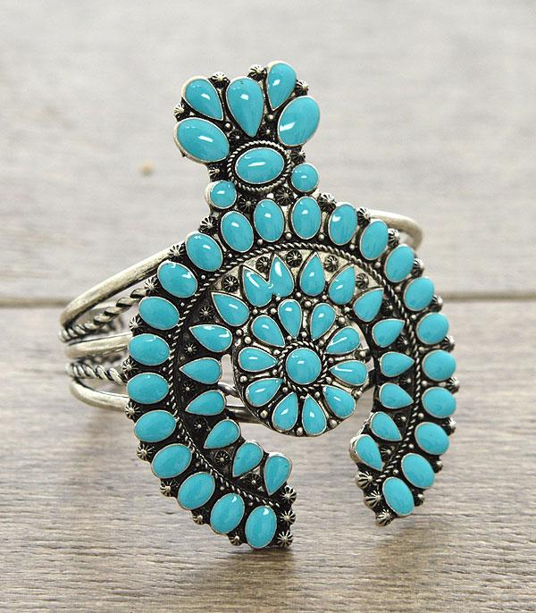 <font color=Turquoise>TURQUOISE JEWELRY</font> :: Squash Blossom Cuff Bracelet