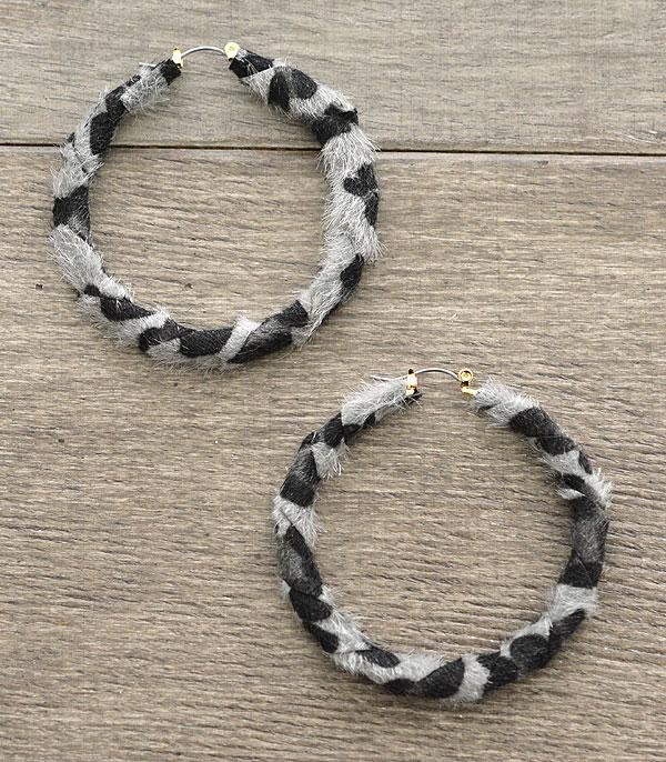 New Arrival :: Faux Fur Leopard Hoop Earrings