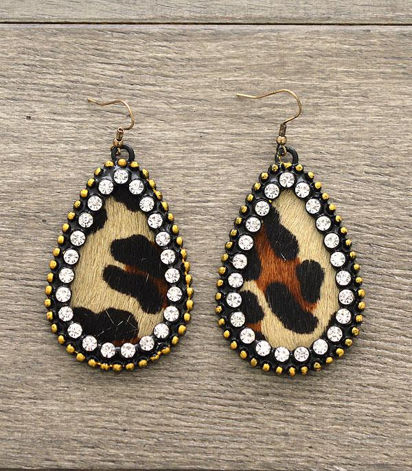 New Arrival :: Real Leather Rhinestone Earrings