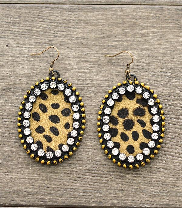 New Arrival :: Real Leather Oval Rhinestone Earrings