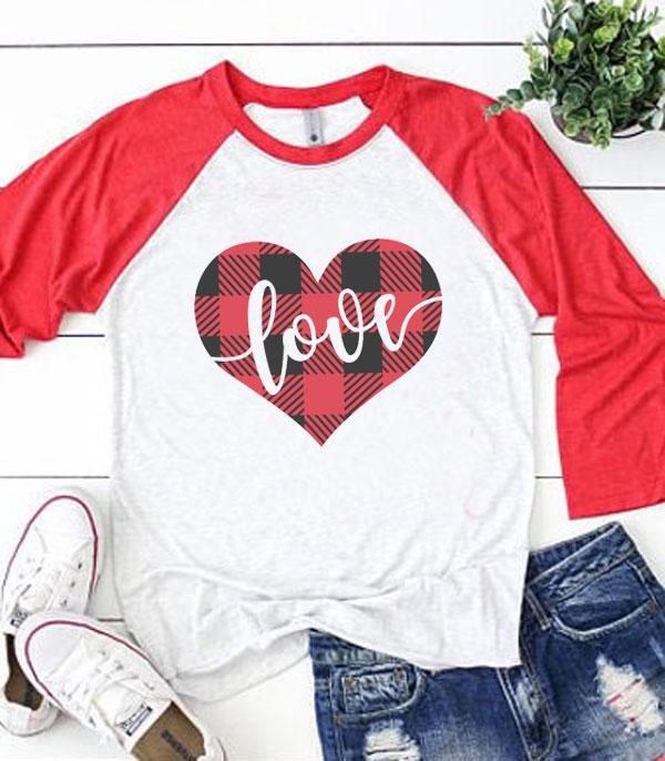 <font color=red>VALENTINE'S</font> :: Buffalo Plaid Heart Vintage Raglan Tee