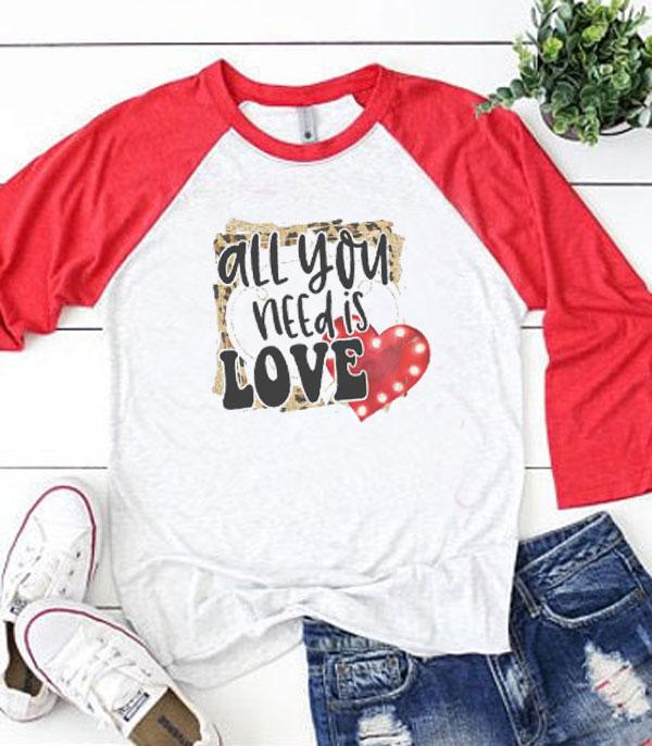 <font color=red>VALENTINE'S</font> :: All You Need Is Love Vintage Raglan Tee