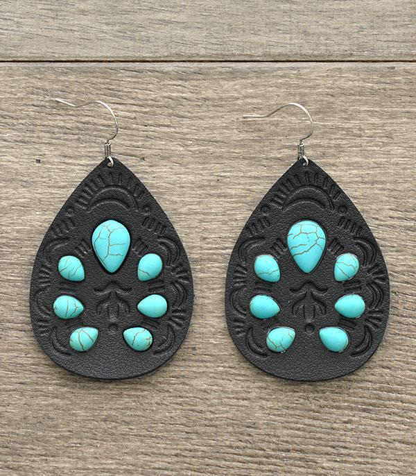 New Arrival :: Leather Tear Drop Earrings