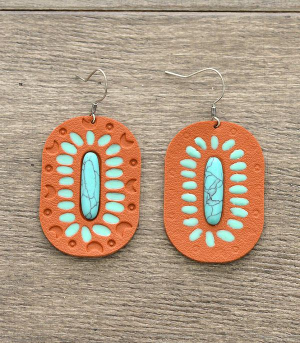New Arrival :: Leather w/Stone Earrings