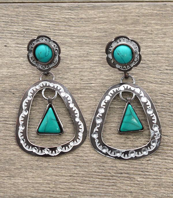 <font color=Turquoise>TURQUOISE JEWELRY</font> :: Handmade Cut Out Dangle Earrings
