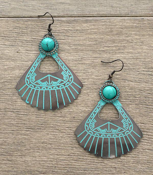 <font color=Turquoise>TURQUOISE JEWELRY</font> :: Handmade Cut-Out Fan Earrings