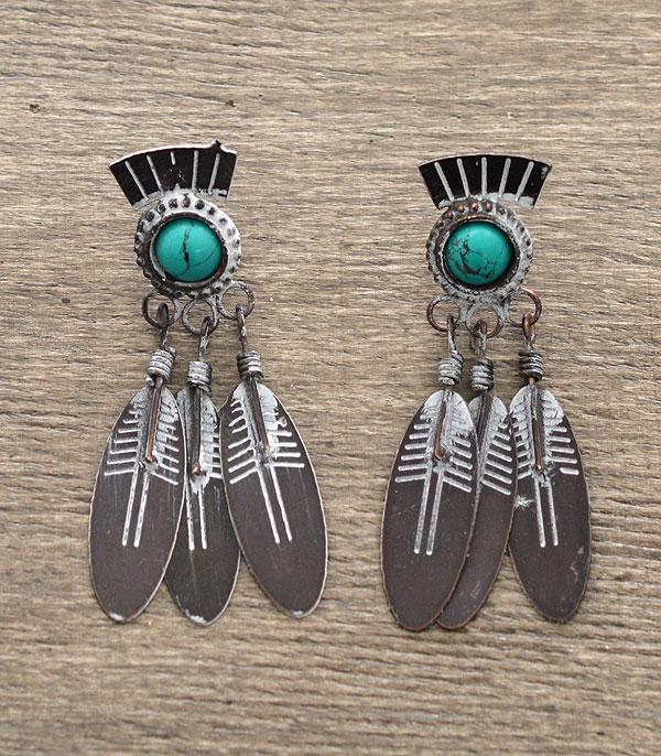 <font color=Turquoise>TURQUOISE JEWELRY</font> :: Feather Dangle Earrings