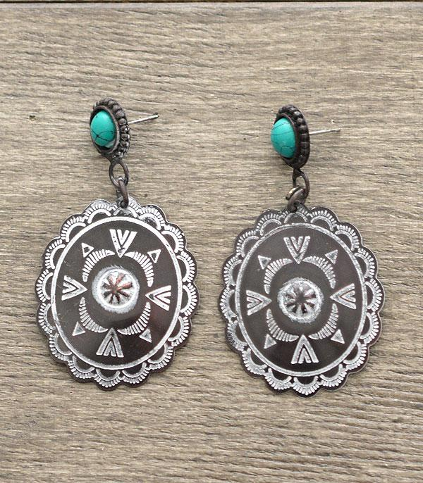 <font color=Turquoise>TURQUOISE JEWELRY</font> :: Handmade Concho Earrings