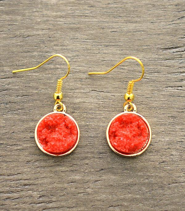 <font color=red>VALENTINE'S</font> :: Druzy Dangle Earrings